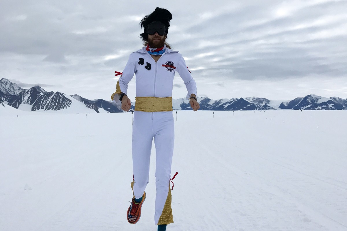 Michael Wardian runs in Antarctica dress as Elvis, one of many ways he injects fun into racing. Photo: Jennifer Wardian
