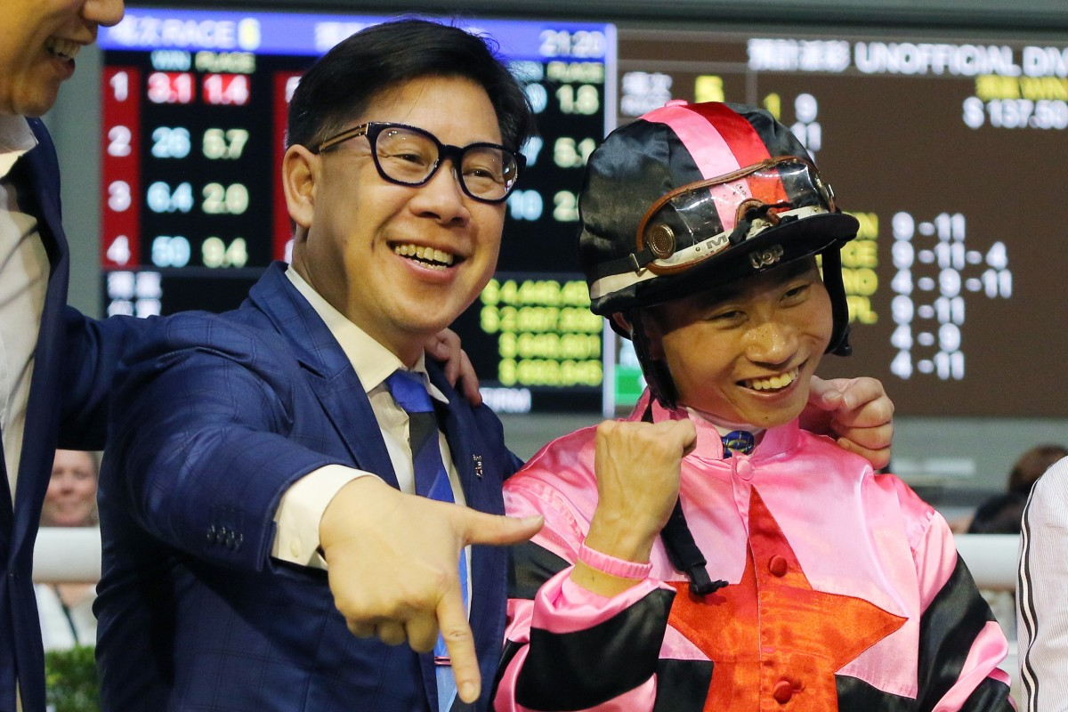 Dennis Yip and Dylan Mo celebrate The Show's win at Happy Valley on Wednesday night. Photos: Kenneth Chan