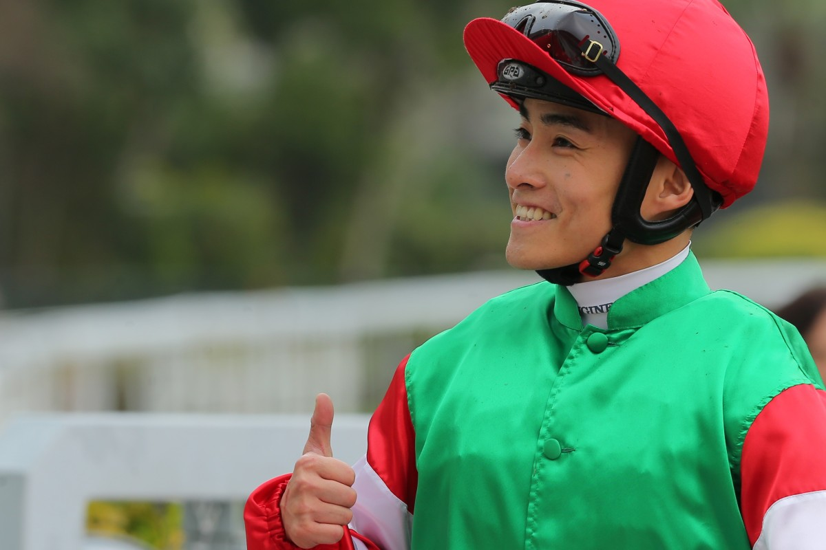 Jockey Keith Yeung is all smiles before his back injury, which saw him out of the saddle for a month. Photos: Kenneth Chan