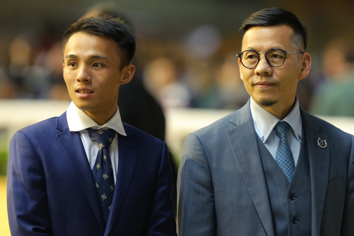 Alfred Chan with trainer Frankie Lor at Happy Valley earlier this month. Photos: Kenneth Chan