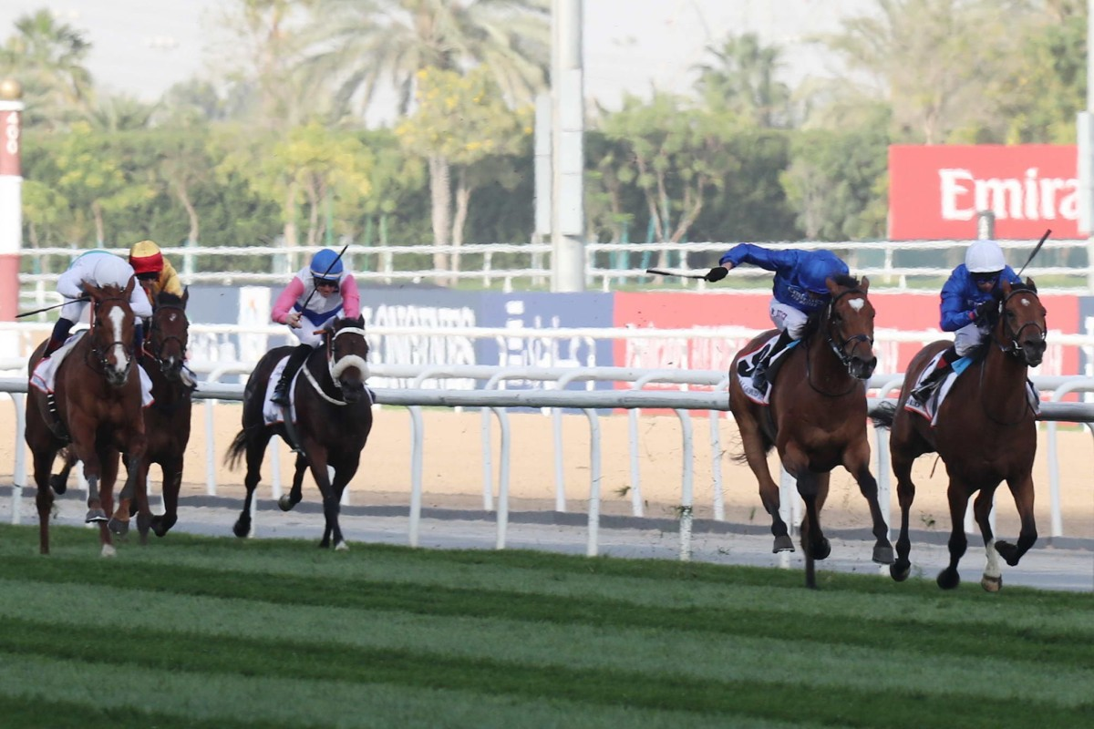 Cross Counter wins the Dubai Gold Cup (second from right) with Hong Kong's Gold Mount (yellow and red cap) finishing fourth. Photo: Kenneth Chan