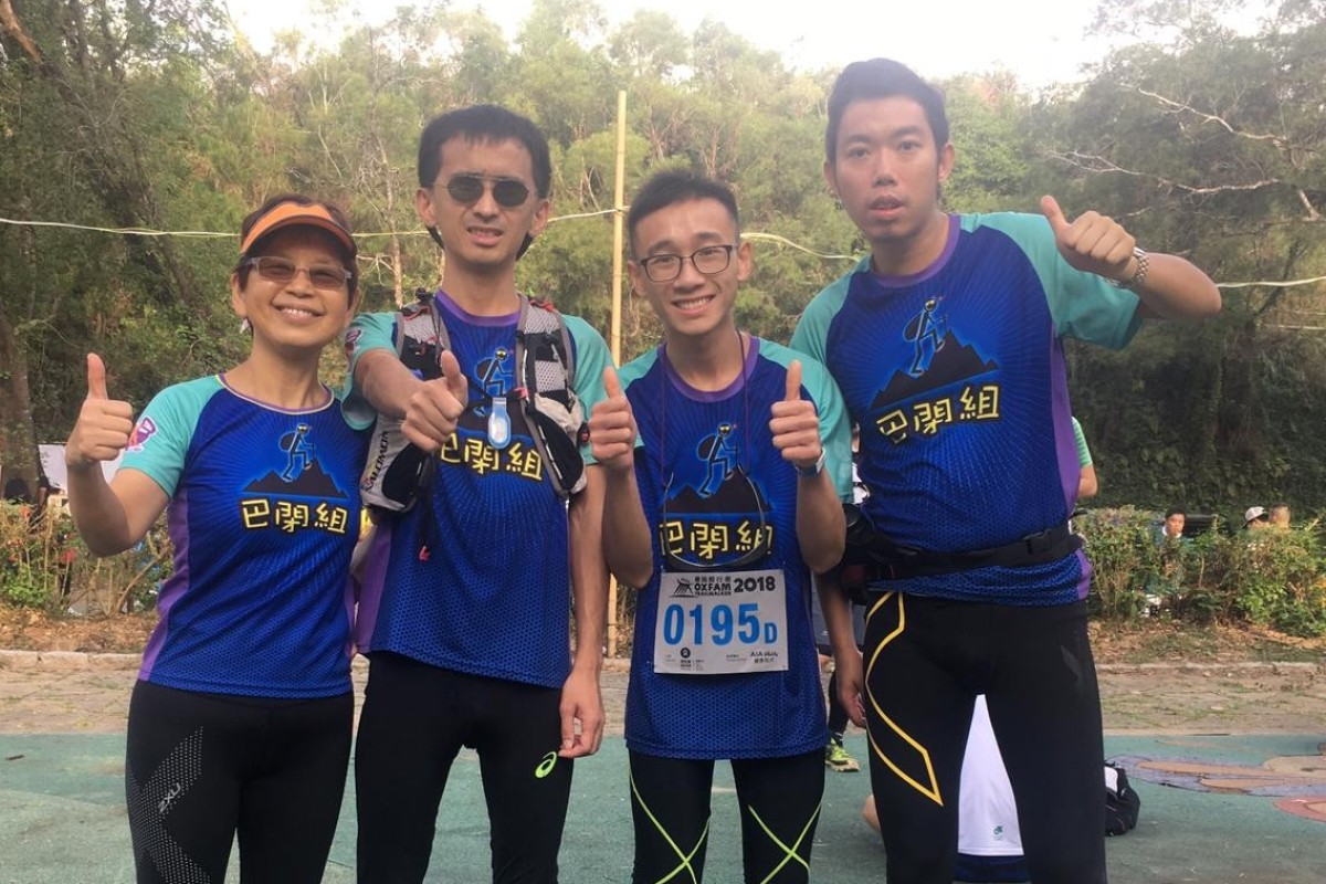 (From left) Dr Rachel Poon Mak Sui-man with Wu Man-hang, Leung Hok-hin and Lam Pok-yin preparing for Oxfam Trailwalker. They are off to run the Marathon des Sables. Photo: Handout