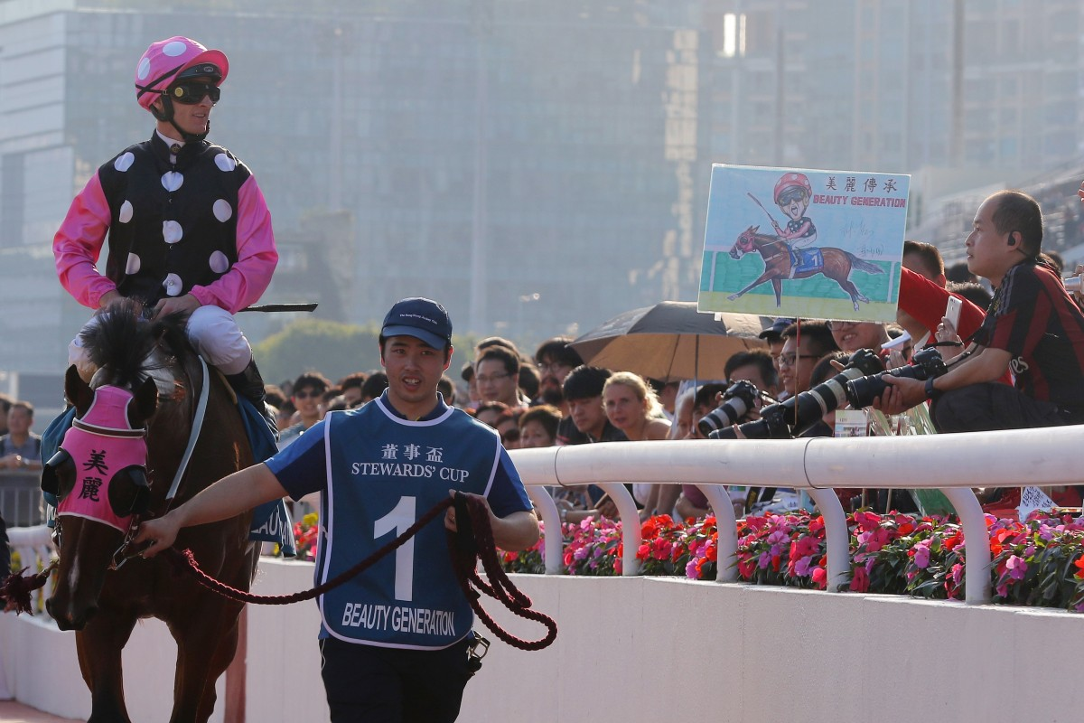 Zac Purton and Beauty Generation return to scale after winning another Group One. Photos: Kenneth Chan