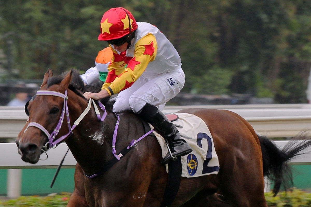 1e03bca40f Mr Croissant races away to win at Sha Tin under Ryan Moore last month.  Photos