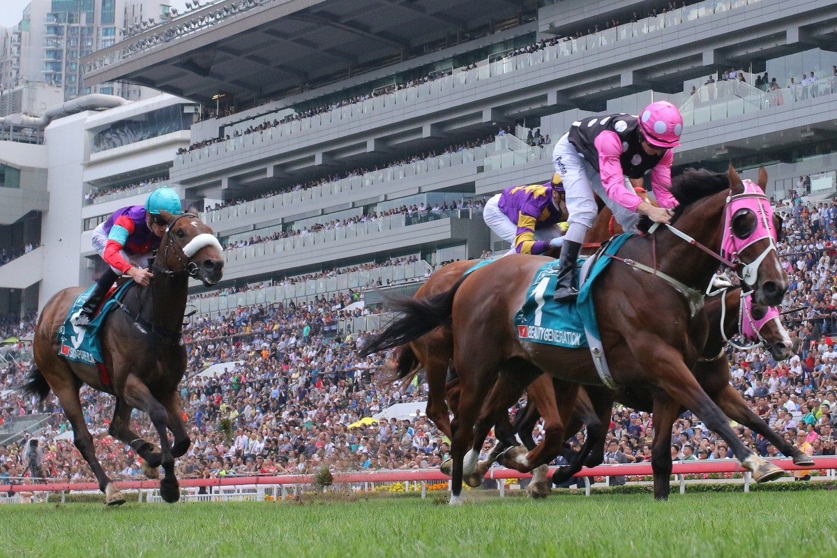 Beauty Generation cruises to victory in the Group One Champions Mile in 2018. Photos: Kenneth Chan