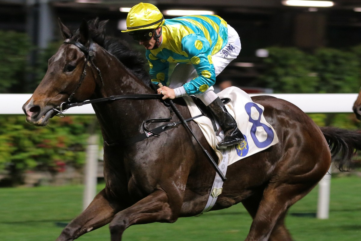 Oriental Elite, ridden by Zac Purton races away to win at Happy Valley last month. Photos: Kenneth Chan