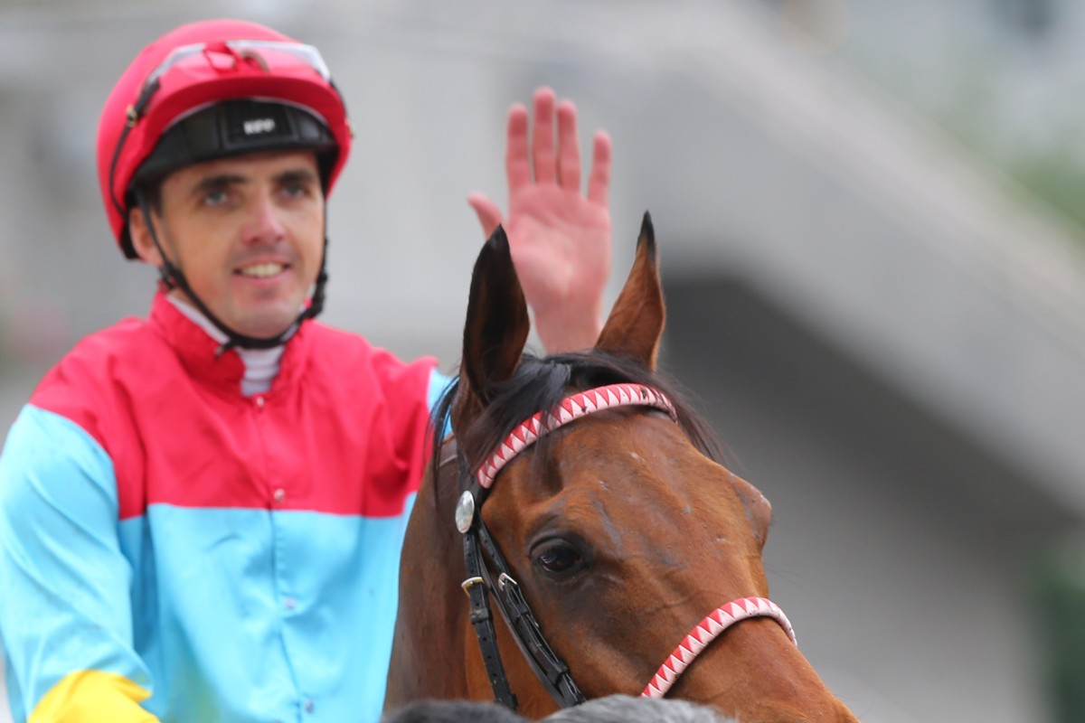 Martin Harley after riding one of his three winners during his short stint so far in Hong Kong. Photos: Kenneth Chan