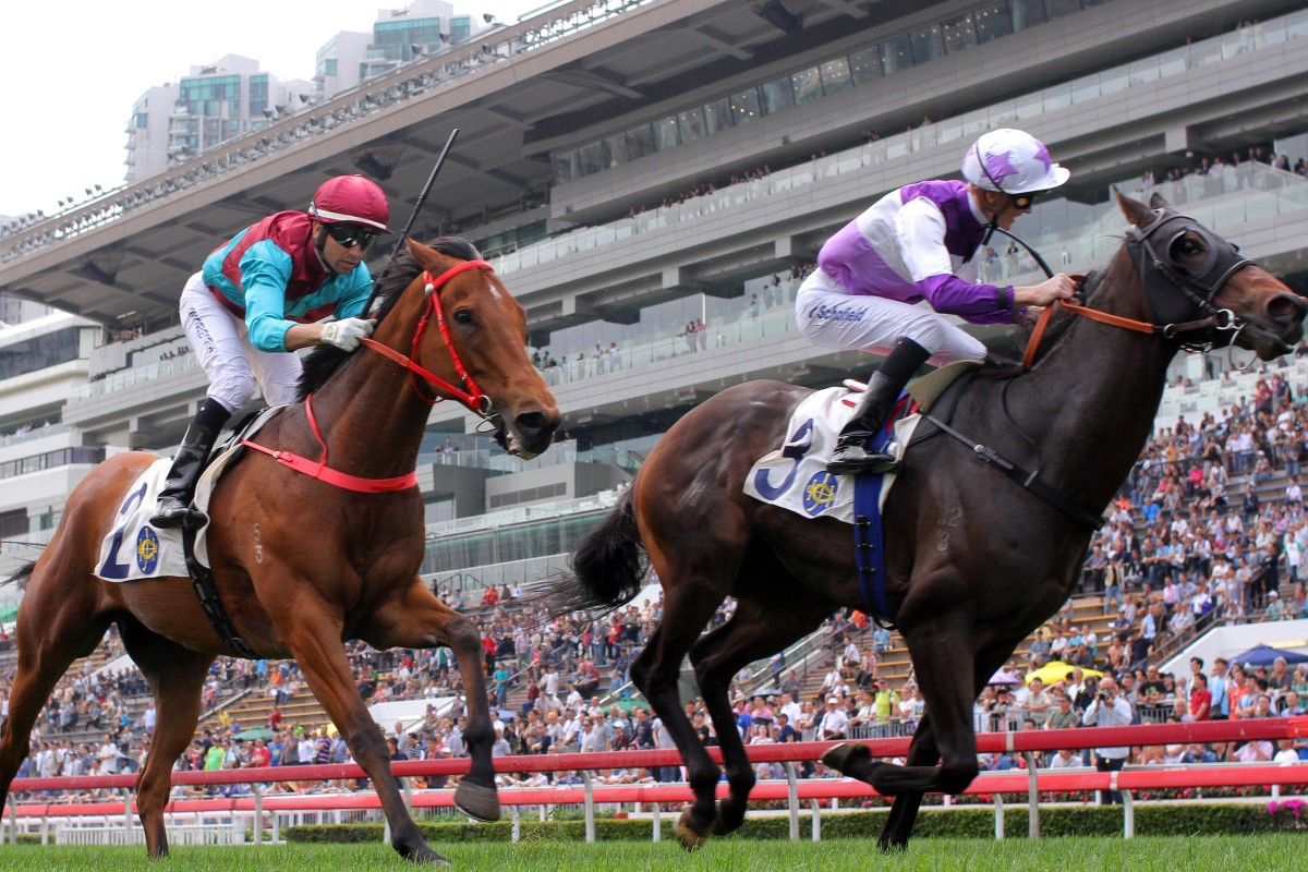 Rattan (outside) goes past Beat The Clock (inside) in the Group Two Sprint Cup (1,200m) at Sha Tin earlier this month. Photos: Kenneth Chan