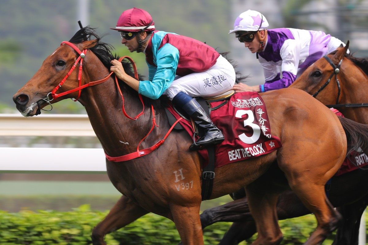 Beat The Clock wins the Group One Chairman's Sprint Prize (1,200m) over Rattan at Sha Tin on Sunday. Photos: Kenneth Chan.