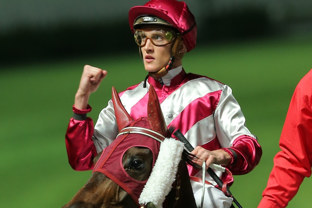 Chad Schofield celebrates his recent win on Endearing. Photos: Kenneth Chan