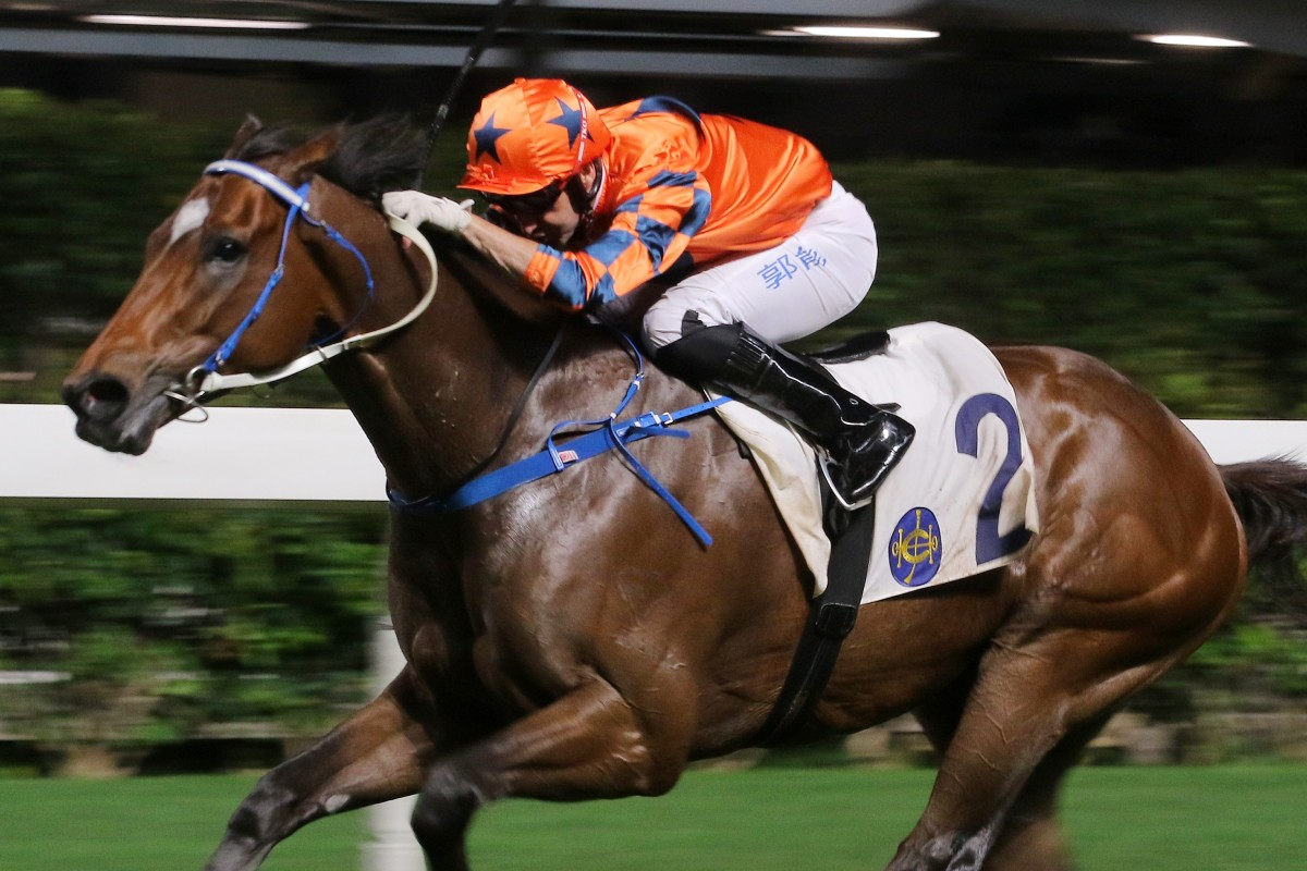 Neil Callan boots home Perfect Glory at Happy Valley on Wednesday night. Photos: Kenneth Chan