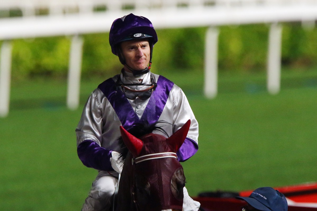 Zac Purton returns to the winner's circle at Sha Tin last week. Photos: Kenneth Chan