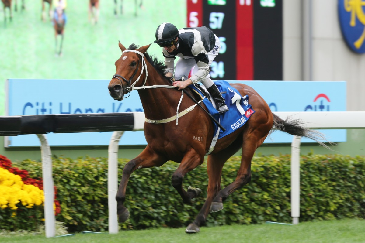 Exultant bolts for home in the Hong Kong Gold Cup. Photos: Kenneth Chan