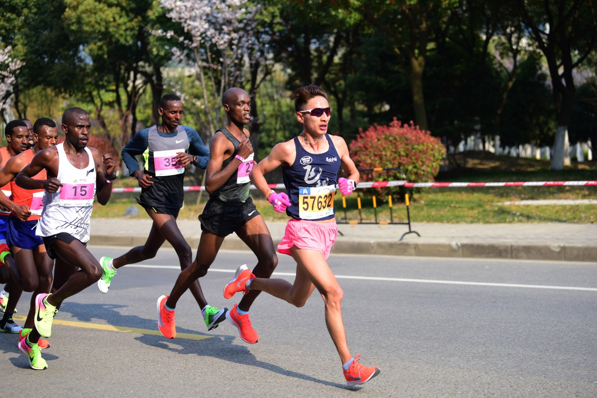 Jia Erenjia on his way to winning the Wuxi half marathon. After winning the OCC last year, he is now focused on marathons and shorter distances. Photo: Handout