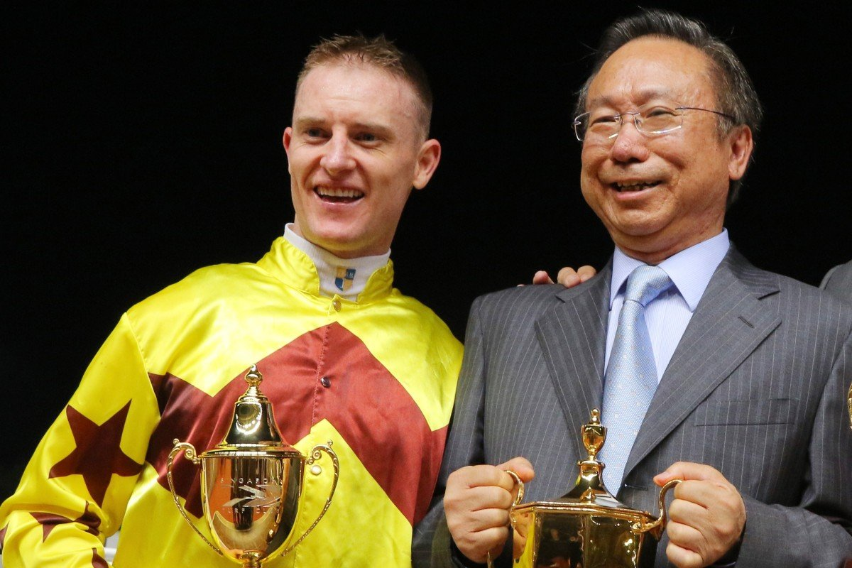 Jockey Zac Purton (left) with Everest slot owner Boniface Ho Ka-kui (middle) and trainer Caspar Fownes after the win of Southern Legend in Singapore. Photos: Kenneth Chan