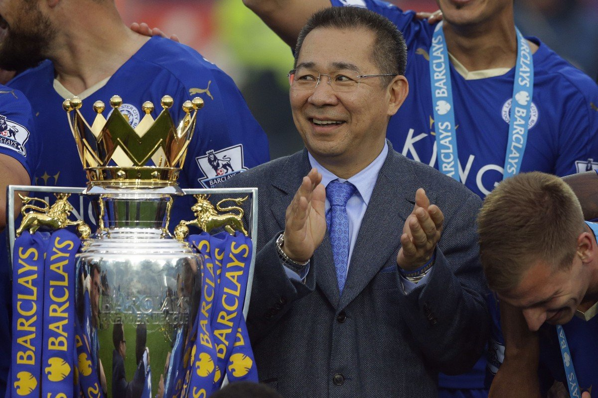 Vichai Srivaddhanaprabha celebrates as Leicester City are crowned Premier League champions at King Power Stadium in 2016. Photo: AP