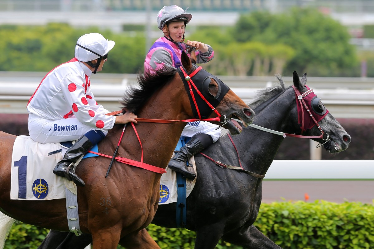 Hugh Bowman and James McDonald have a chat after a race at Sha Tin on Champions Day. Photos: Kenneth Chan