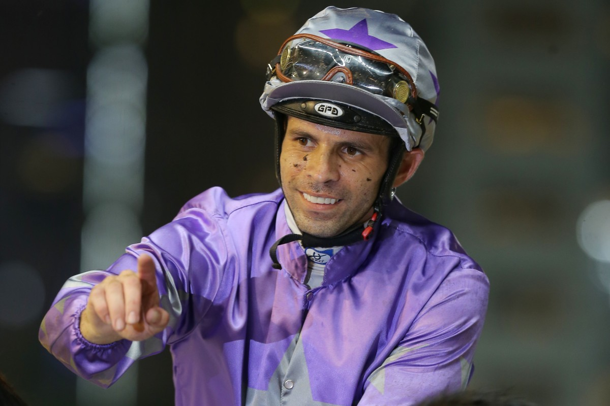 Aldo Domeyer celebrates his win aboard Everbrave at Happy Valley in May. Photos: Kenneth Chan