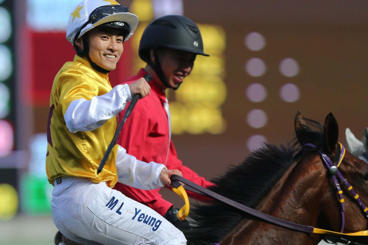 Keith Yeung returns to scale after winning on Not Usual Talent at Sha Tin earlier this season. Photos: Kenneth Chan
