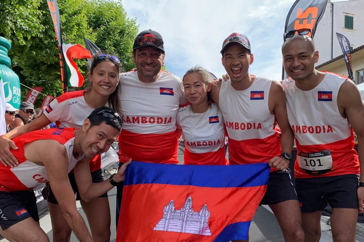 Mat Leng (second right) representing Cambodia at the Trail World Championship but it is about promoting his fellow countrymen's running, not just the race. Photos: Handout