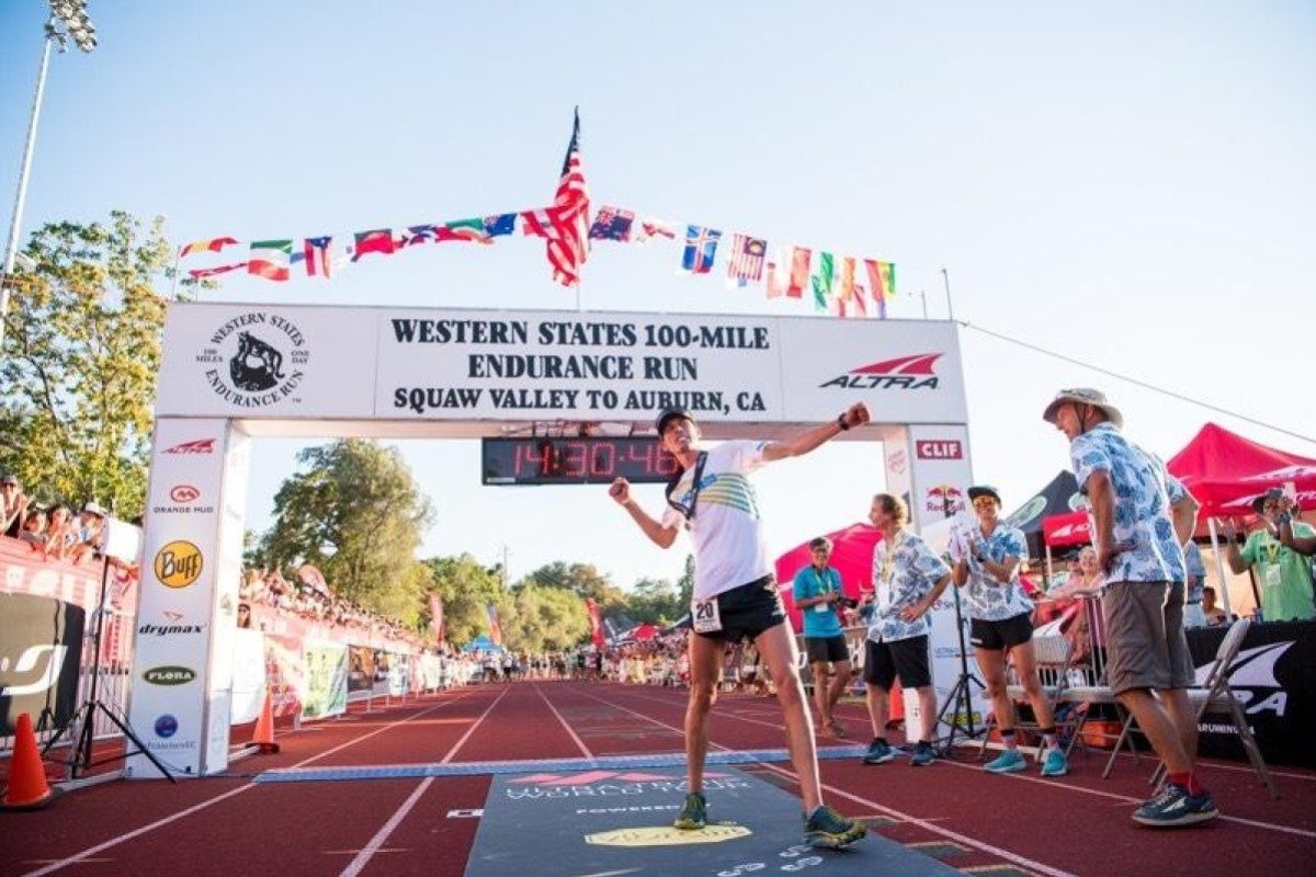 Jim Walmsley crosses the line in record time in 2018, but this year he went one better. Photo: Hoka One One