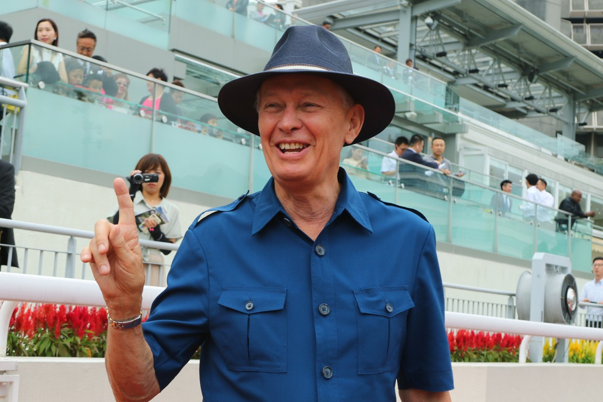 John Moore celebrates his win with Magic Success at Sha Tin on Sunday. Photos: Kenneth Chan