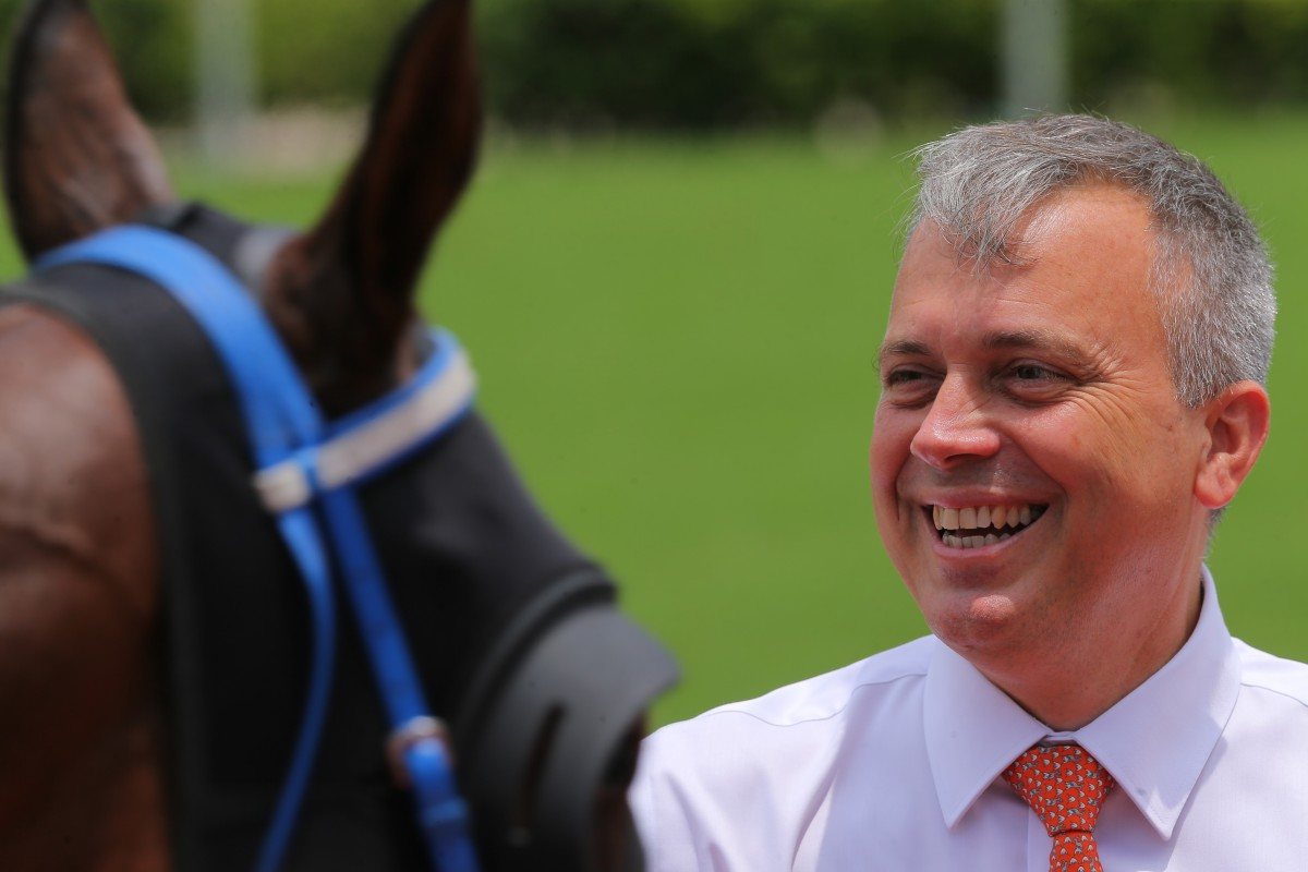Caspar Fownes is all smiles after one of his winners on Sunday. Photos: Kenneth Chan