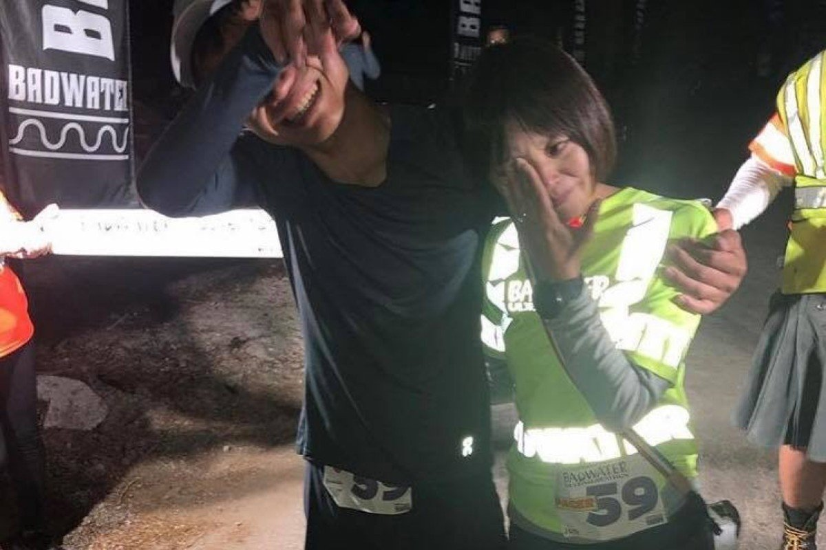 Japanese runner Yoshihiko Ishikawa wins Badwater 135, setting the record, then proposes to his girlfriend. Photo: US National 24 Hour Running Team