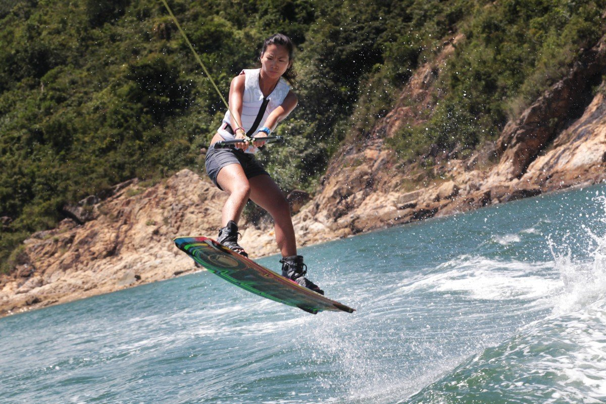 Hammer Tsui Shuk-yee demonstrates how to wakeboard at Tai Tam in 2014. 28JUL14