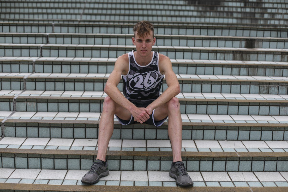 Hong Kong triathlete Oscar Coggins photographed outside Hong Kong Stadium. Photo: Xiaomei Chen