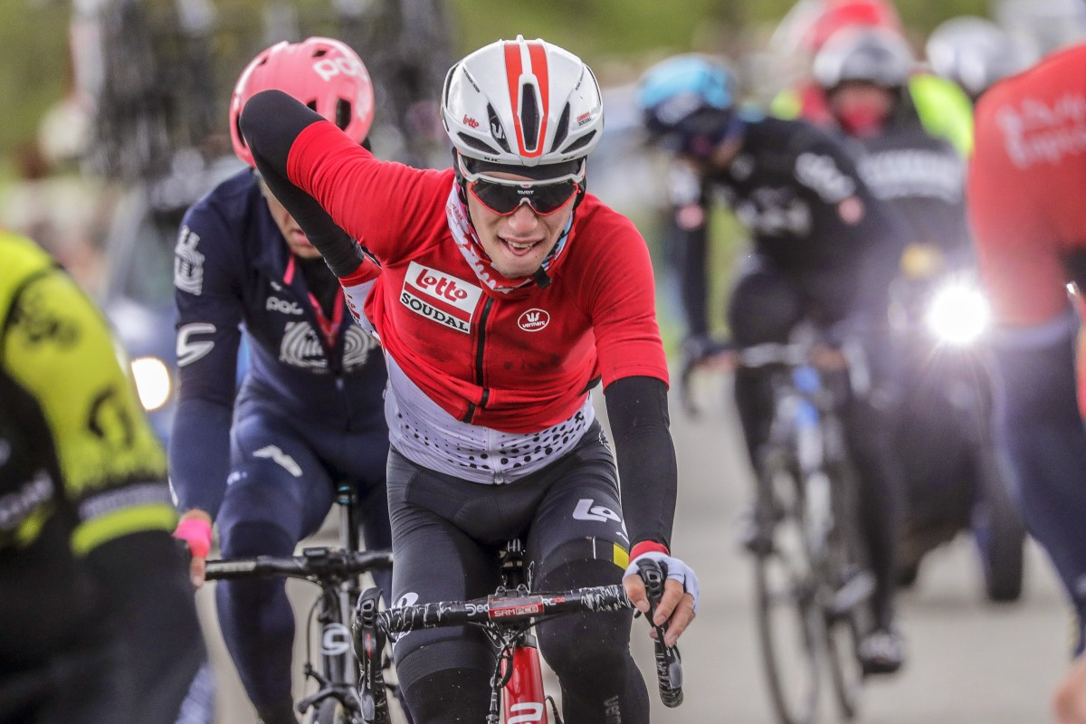 Belgian rider Bjorg Lambrecht of the Lotto Soudal team in action during the Liege Bastogne Liege one day classic cycling race near Houffalize, Belgium. Photo: Epa-EFE/Julien Warnad