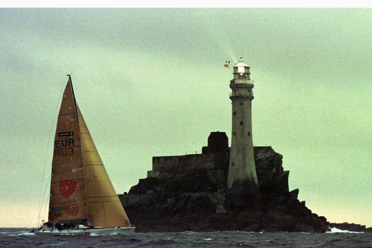 The New Zealand owned yacht 'Bil' rounds the Fastnet lighthouse, the scene of a violent storm in 1979. Photo: Reuters