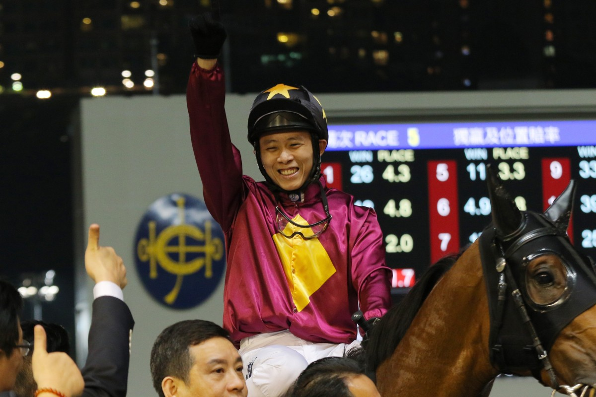 Alex Lai celebrates his last winner, which came at Happy Valley back in May, 2017. Photos: Kenneth Chan