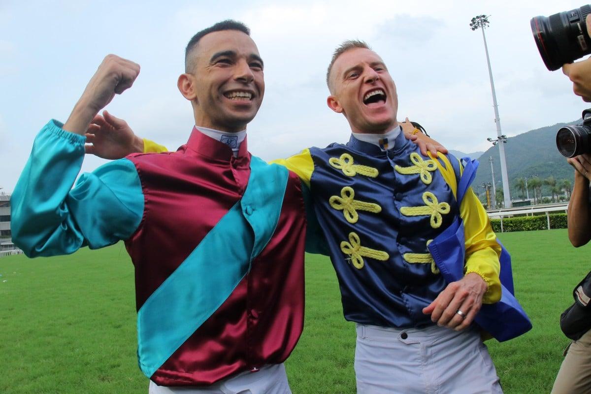 Jockeys Joao Moreira and Zac Purton celebrate the end of the 2018-19 season. Photo: Kenneth Chan