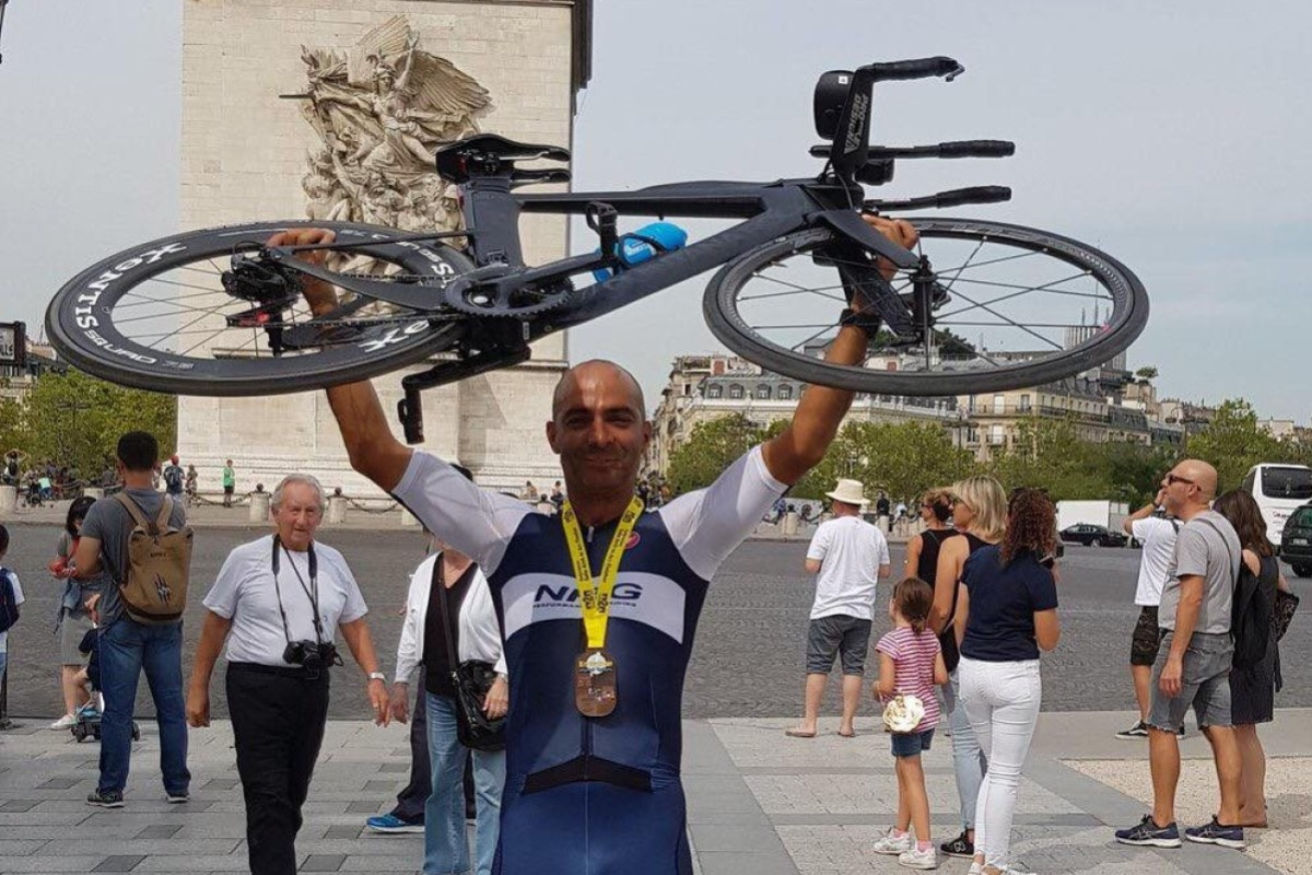 Mayank Vaid claims the Arch 2 Arc record – a run, swim and cycle from London to Paris. Photos: Handout