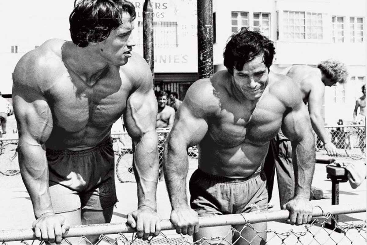 Arnold and Franco at Venice Beach, California in their heyday. Photo: Instagram