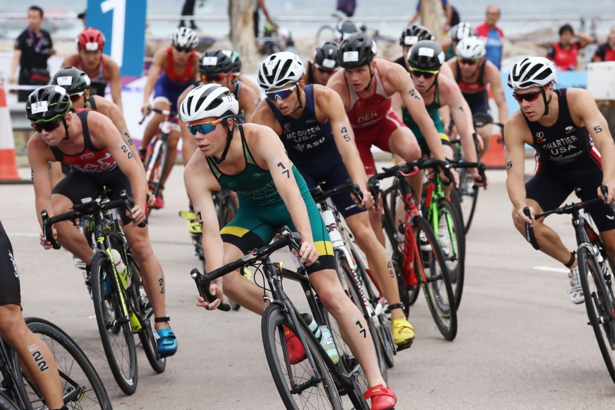 Participants compete in the men's 2018 Hong Kong ASTC Sprint Triathlon Asian Cup at Sunny Bay in 2018. This year's event has been cancelled because of uncertainty around the protests. Photo: Jonathon Wong