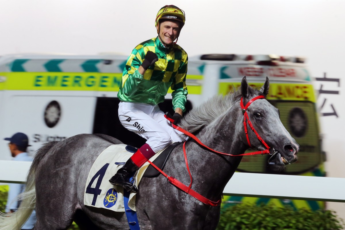 Blake Shinn pumps his fist after winning his first race in Hong Kong. Photos: Kenneth Chan