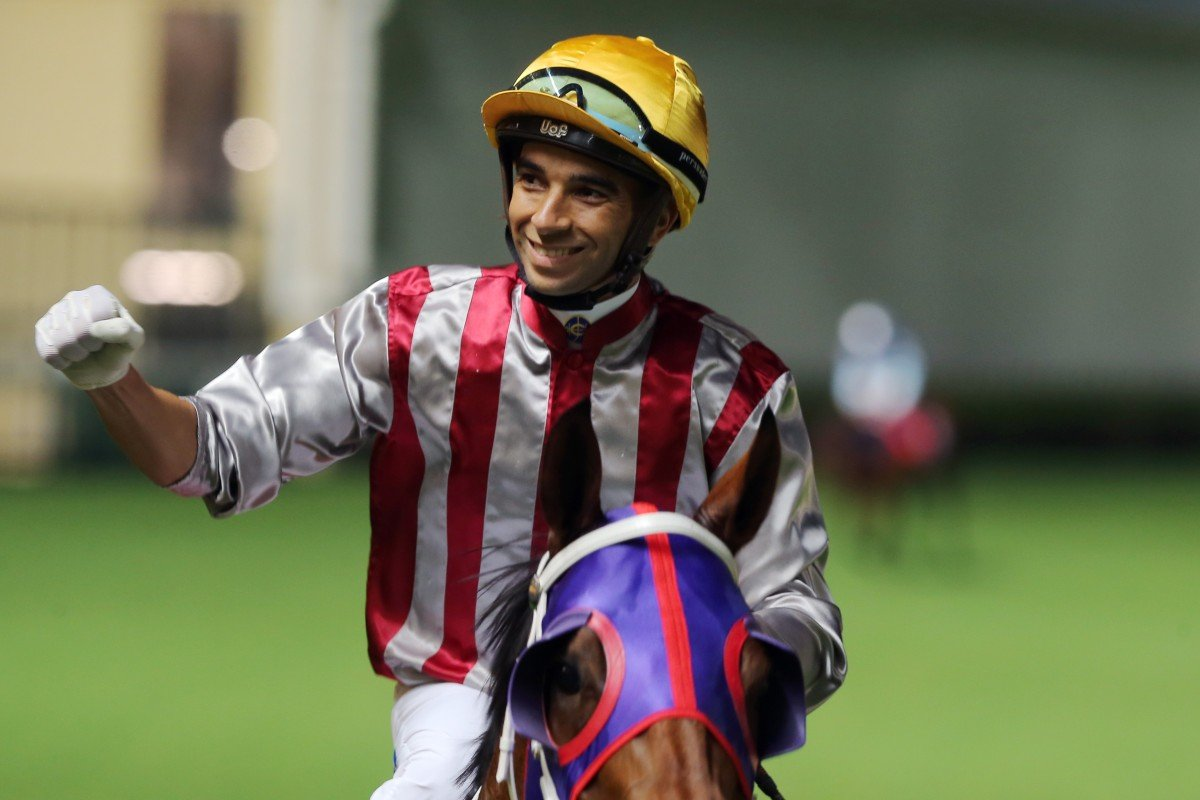 Joao Moreira celebrates one of the six winners he has bagged this season. Photos: Kenneth Chan