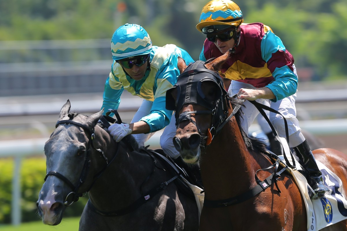 Joao Moreira (inside) goes toe-to-toe with Zac Purton (outside) at Sha Tin on Saturday. Photos: Kenneth Chan