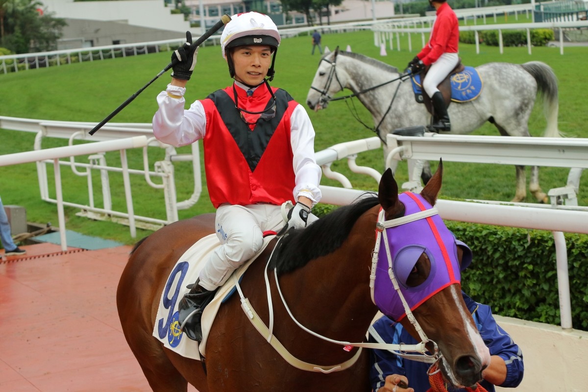 Victor Wong celebrates one of his 38 winners last season. Photos: Kenneth Chan