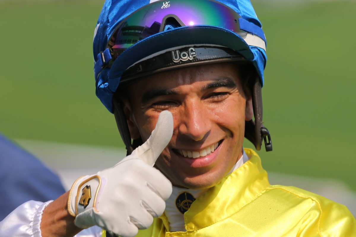 Joao Moreira is all smiles on his way to a four-timer at Sha Tin on Tuesday. Photo: Kenneth Chan