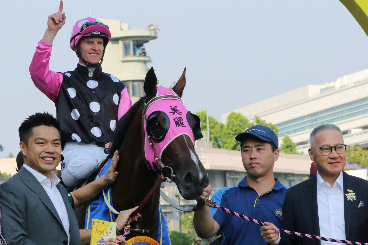 The Kwok family celebrate the win of Beauty Generation with jockey Zac Purton at Sha Tin on Tuesday. Photos: Kenneth Chan