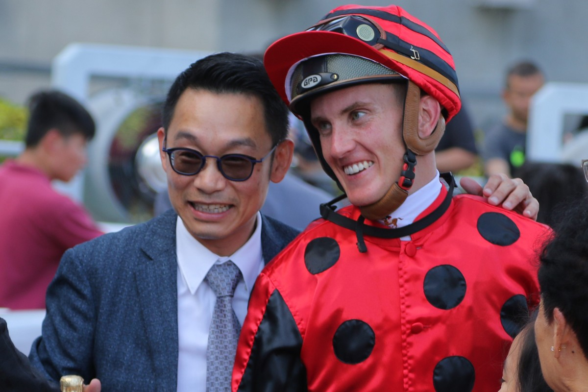 Trainer Jimmy Ting and jockey Chad Schofield celebrate the win of Deal Maker at Sha Tin this season. Photos: Kenneth Chan