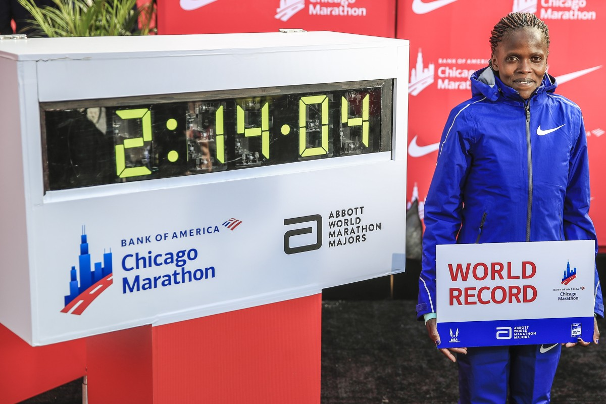 Brigid Kosgei of Kenya sets a new women world record time of 2:14:04 and now thinks 2:10 might one day be possible. Photo: EPA