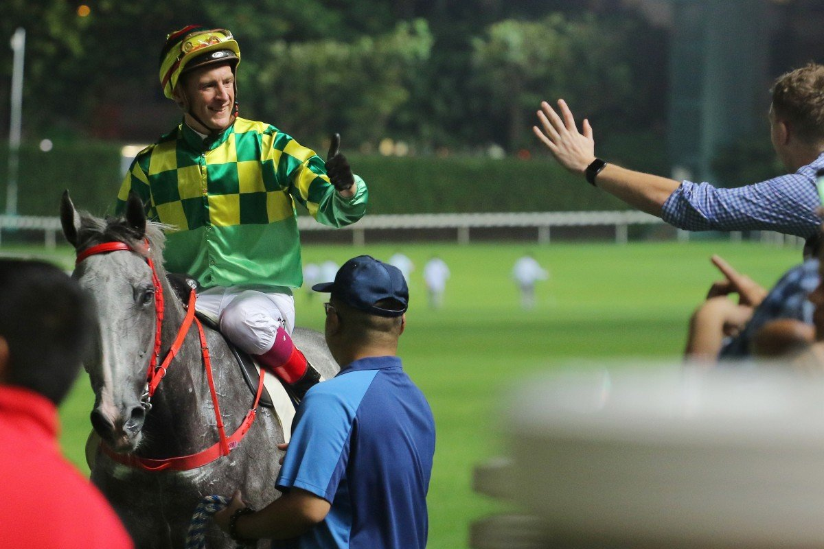 Blake Shinn at Happy Valley after riding a winner this season. Photos: Kenneth Chan