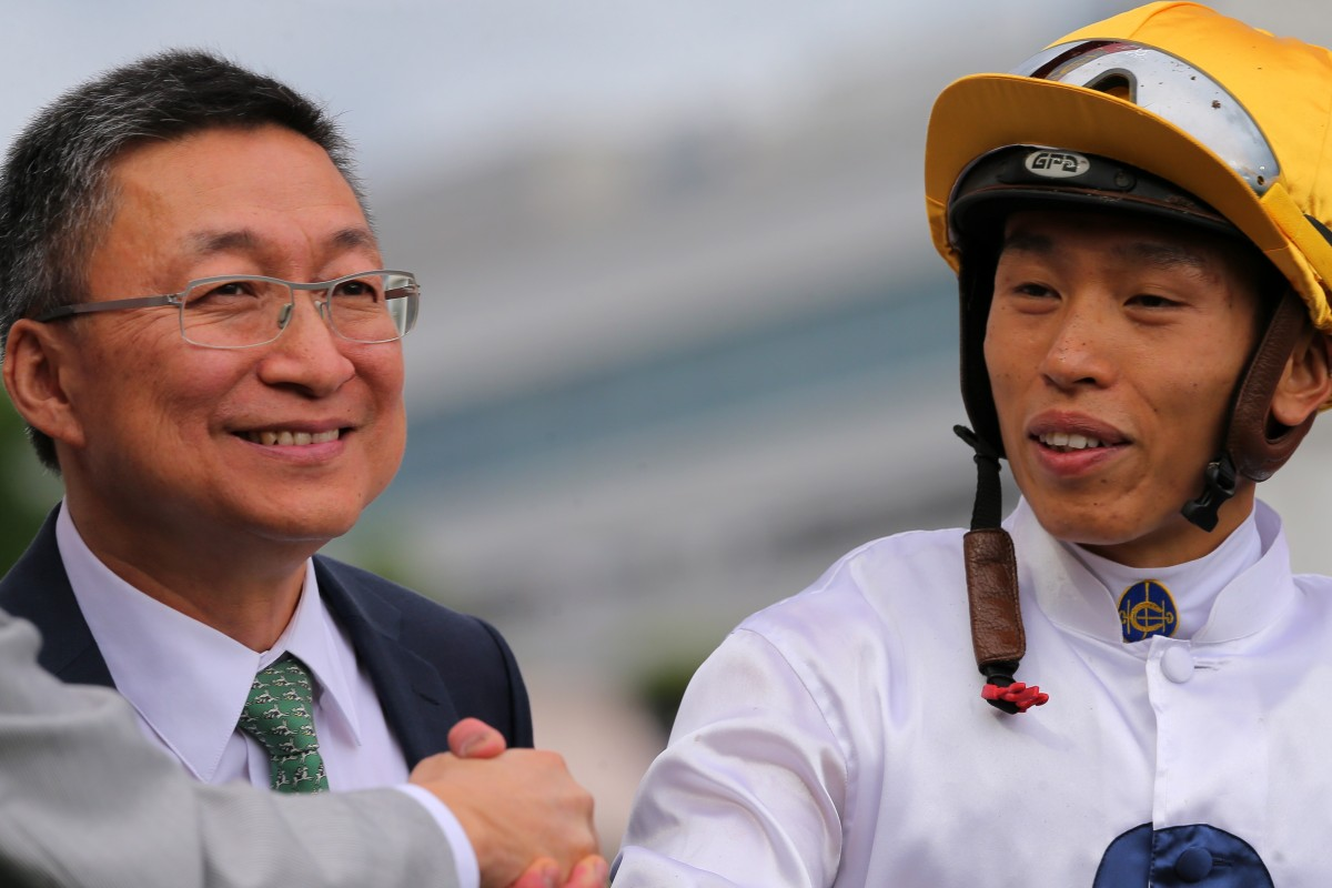 Trainer Francis Lui and Vincent Ho after the win of Golden Sixty at Sha Tin. Photos: Kenneth Chan