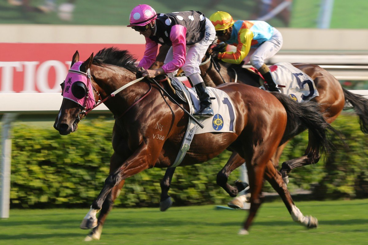 Beauty Generation clears out to win the Group Three Celebration Cup first-up. Photos: Kenneth Chan