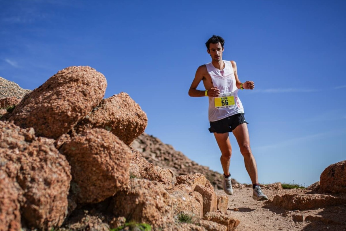 Kilian Jornet on his way to winning the Pikes Peak Marathon as part of the Golden Trail Series. Photo: Philipp Reiter