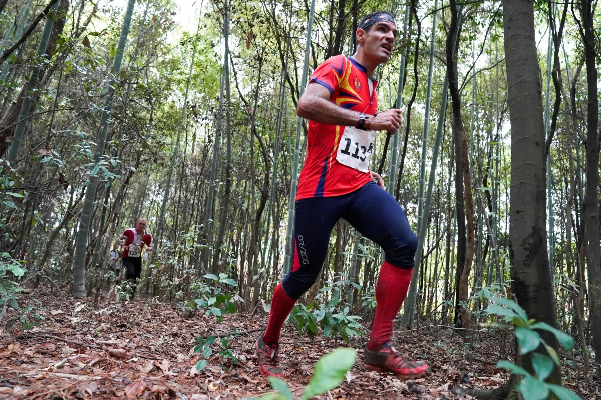 Molina Santiago Jimenez of Spain competes during the relay final of orienteering at the 7th Military World Games in Wuhan, China. Photo: Xinhua